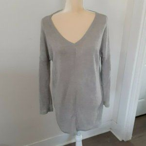 Vicabo gray tunic v-neck lightweight sweater XL